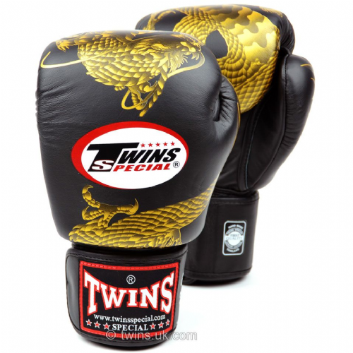 Twins Dragon Boxing Gloves - Black/Gold